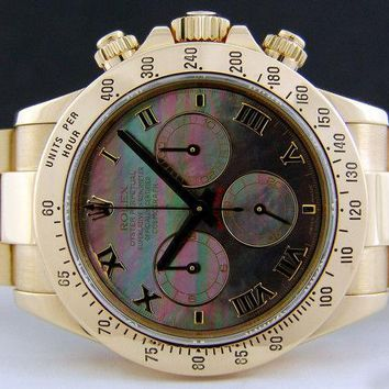 Rolex Cosmograph Daytona Gold Black Mother of Pearl Roman 116528 - WATCH CHEST
