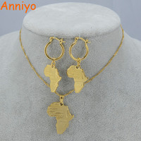 Anniyo African Map Jewelry sets Necklace Earrings for Women Gold Color Ethiopian Jewellery/Nigeria/ Congo/Ghana #001702