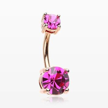 Rose Gold Fuchsia Sparkle Prong Set Belly Button Ring