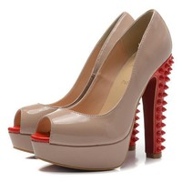 Christian Louboutin Fashion Edgy Rivets Red Sole Heels Shoes-15