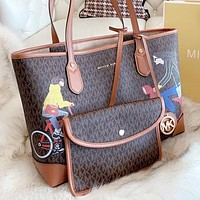 MK Michael kors New fashion more letter print leather shoulder bag handbag two piece suit bag