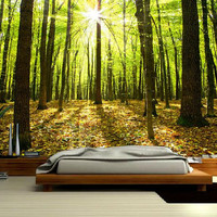 Forest MURAL, Wallapeper nature, nauture mural, self-adhesive vinly