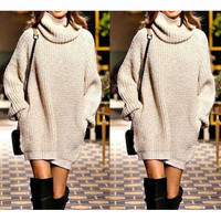 Fashion High Neck Knitwear Top Sweater Dress