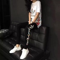"""Adidas"" Women Casual Multicolor Letter Pattern Print Short Sleeve Leggings Trousers Set Two-Piece Sportswear"