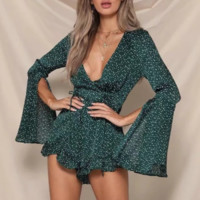 Retro bell sleeves green wave point holiday wind beach jumpsuit