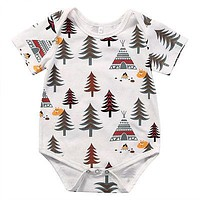 born Baby Boys Girls Cotton Short Sleeve Romper Infant Boy Girl Forest Tree Jumpsuit Kids Clothes Outfit