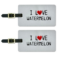 I Love Watermelon Written on Paper Luggage Tag Set
