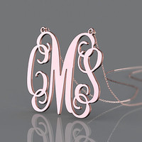 Monogram necklace gold plated split chain personalized 1.25 inch  initial pendant necklace