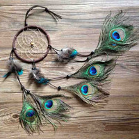 2015 new fashion hot peacock dreamcatcher wind chimes indian style feather pendant dream catcher gift ideas top fashion