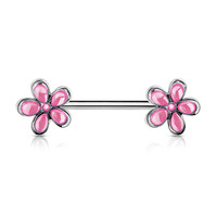 Single Pink Crystal Set Flower Ends 316L Surgical Steel Nipple Ring Barbells 14ga