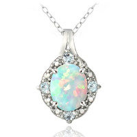 Sterling Silver Diamond Accent Created White Opal & Blue Topaz Oval Necklace