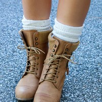 From Great Heights Cognac Lace Up Combat Boot With Sweater Detail