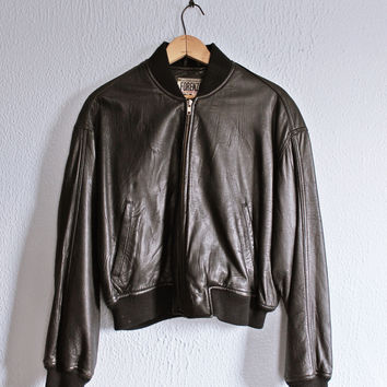 Vintage 80's Black Leather • FORENZA • Urban Moto Bomber Jacket
