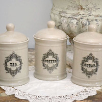 French Style Sugar Canister in Sandstone - $25/each - The Bella Cottage