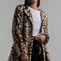 Long Sleeve A Line Faux Fur Snap Fastened Animal Print Cheetah Coat in Cheetah