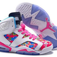 Hot Nike Air Jordan 6 Retro Women Shoes Colorful White Pink