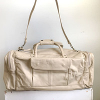Vtg Leather Duffle Bag // Vintage Mexican Leather Gym Bag // Beige Off White Leather Duffel Bag // Sports Travel Bag