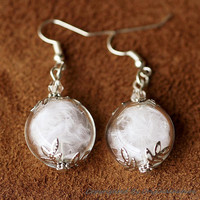 Nature Inspired Jewelry Real White Feather Earrings (HM0051)