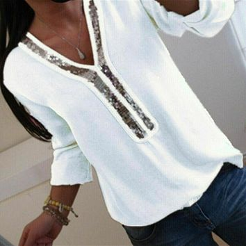 Hirigin Fashion Women Ladies Long Sleeve Loose Blouse Summer V-Neck Casual Shirts Tops Clothing Sequined Casual Soft Clothes