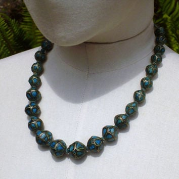 60's Turquoise Indian Bead Necklace