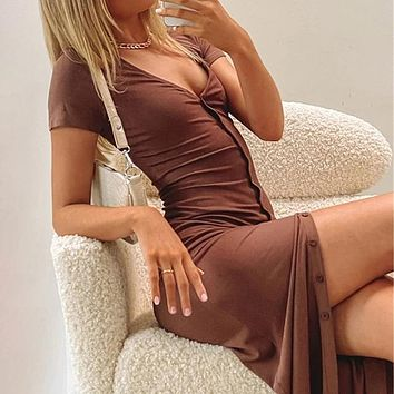 Single-breasted Bodycon Maxi Dresses For Women Short Sleeve See Through Beach Dress Solid V-neck Party Vestidos