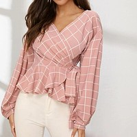 Lantern Sleeve Wrap Belted Peplum Grid Tunic Shirt Top Blouse