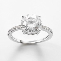 Silver Plate Cubic Zirconia Ring (White)