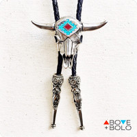 Western BOLO TIE with Cow Skull and Genuine Turquoise - The 'Sacred Bull' Bolo Tie