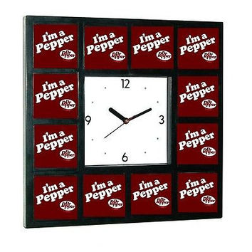 Dr. Pepper I'm a Pepper Clock promo around the Clock with 12 surrounding images