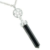 Magic Energy Powers Star Pentacle Amulet Crystal Point Charm Simulated Onyx Pendant 18 Inch Necklace
