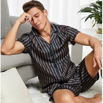 Fashion Casual Men Lapel Neck Striped Shirt Shorts PJ Set