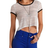 Sheer High-Low Ringer Tee by Charlotte Russe