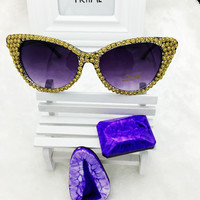 2016 New Brand Crystal Diamond Cat Eye Sunglasses Women Luxury Famous Designer Vintage Mirror Sun Glasses For Ladies