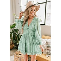Maybe This Is Love Long Sleeve Floral Dress (Seafoam)