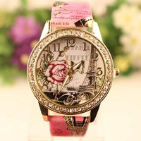 2015 New Fashion Cute Hot Sell Women Retro Rose Pattern Ladies Watches = 1956414468