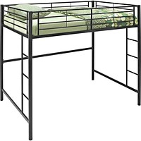 Space Saving Metal Full/Double Loft Bunk Bed in Black by Walker Edison