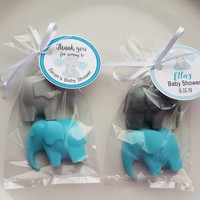 Safari Elephant Baby Shower for Boys - Personalized Party Favors Tags Birthday Party Favors Custom Made Vegetable Glycerin Soap | Pack of 10