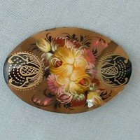 Russian Hand Painted Lacquered Floral Brooch Pin Signed Vintage