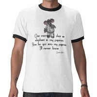 KRW Funny Elephant in Pajamas Groucho Marx Quote Tshirt from Zazzle.com