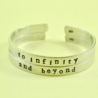 to infinity / and beyond  -  Hand Stamped Aluminum Cuff Bracelets Set, Newsprint Font, Forever Love, Friendship, BFF, V2