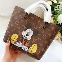 LV & Disney New fashion monogram print shoulder bag handbag Coffee