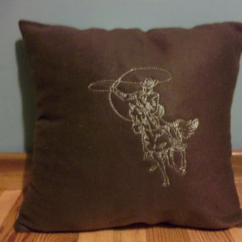 handmade throw pillow cover cowboy lasso horse embroidered design brown fleece