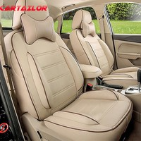 CARTAILOR PU Leather Seat Covers fit for Jeep Wrangler Car Seat Cover Set Black Interior Accessories for Car Seats Protection