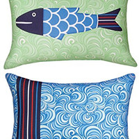 """Manual Woodworkers SHMFSO Missy Fishy Solo Rectangle Climaweave Outdoor Indoor Pillow 18""""x13"""" with 6-Pack of Tea Candles"""