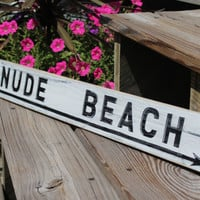 Beach Sign Nude Vintage Style Nautical by justbeachyshop on Etsy