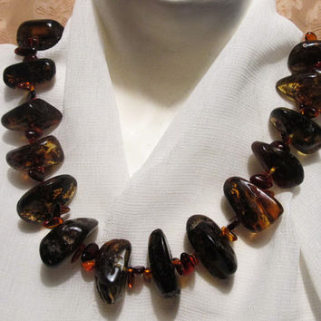 Natural Baltic #Amber Real #Huge #Necklace, weight 146.4 gr yellow #green cognac transparent #inclusions raw stones polished beads for adult