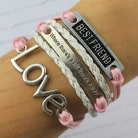 """Best friend, """"where there is a way of love"""" bracelet, pink garden white wax rope and leather bracelet, friendship gift"""