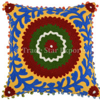 Embroidered Cushion Covers, Suzani Pillow Covers 16x16, Indian Outdoor Cushions, Bohemian Throw Pillow Cases, Yellow Color Theme Pillows