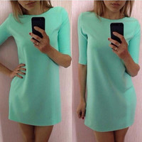 O-neck Solid Slim Mini Dress