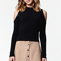 Kendall and Kylie Long Sleeve Ribbed Cold Shoulder Top at PacSun.com